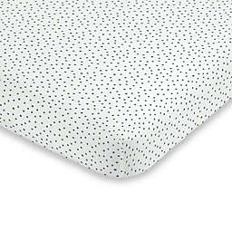 ED Ellen DeGeneres Painterly Floral Dot Fitted Crib Sheet in Grey