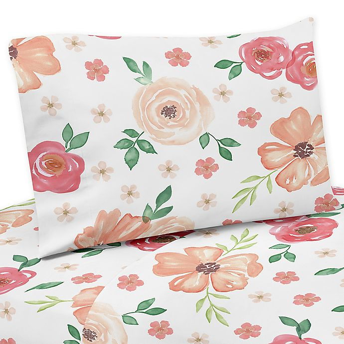 Alternate image 1 for Sweet Jojo Designs® Watercolor Floral Queen Sheet Set in Peach/White