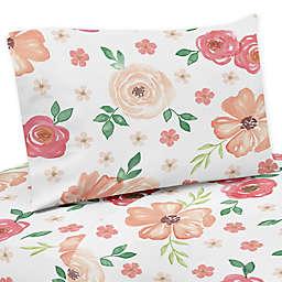 Sweet Jojo Designs® Watercolor Floral Queen Sheet Set in Peach/White