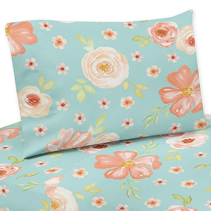 Alternate image 1 for Sweet Jojo Designs® Watercolor Floral 4-Piece Queen Sheet Set in Peach/Turquoise