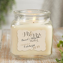Personalized Mr. & Mrs. Vanilla Bean Candle Jar- Small