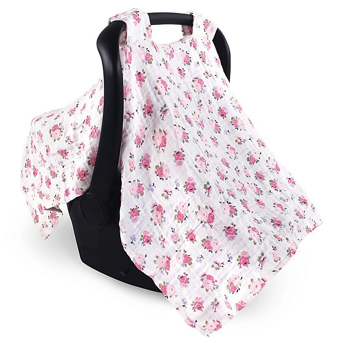 Alternate image 1 for Luvable Friends™ Muslin Floral Car Seat Canopy