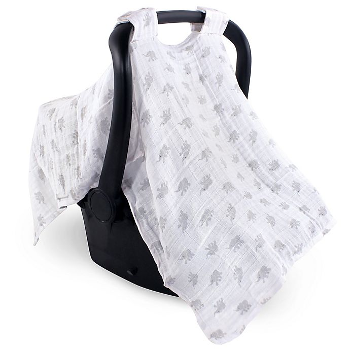 Alternate image 1 for Luvable Friends™ Muslin Elephant Car Seat Canopy
