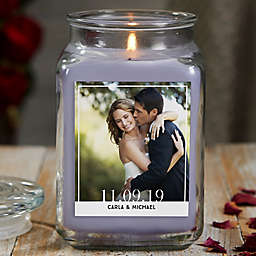 Our Wedding Photo Personalized Large Lilac Minuet Glass Candle Jar Collection