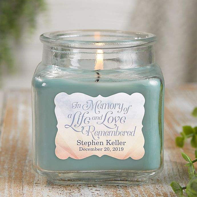 Alternate image 1 for In Memory Personalized Eucalyptus Spa Candle Jar- Small