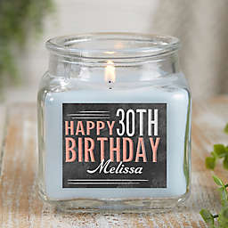Vintage Birthday Personalized Crystal Waters Candle Jar