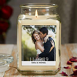 Our Wedding Photo Personalized Vanilla Bean Glass Candle Jar Collection