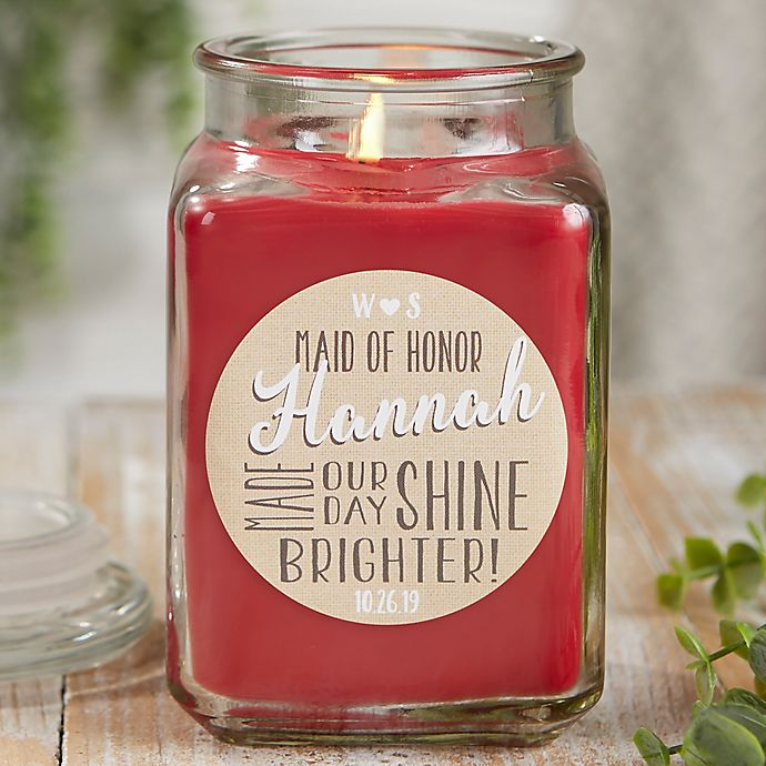 Alternate image 1 for My Bridesmaid Personalized Cinnamon Spice Candle Jar