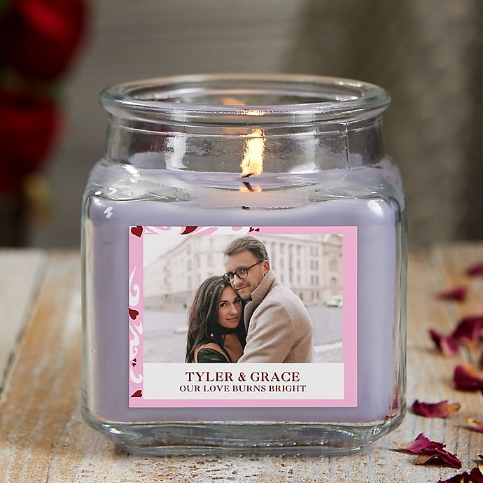 Alternate image 1 for Sweethearts Personalized Lilac Minuet Photo Candle Jar