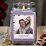 Part of the Sweethearts Personalized Lilac Minuet Photo Candle Jar Collection