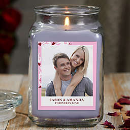 Sweethearts Personalized Lilac Minuet Photo Candle Jar Collection