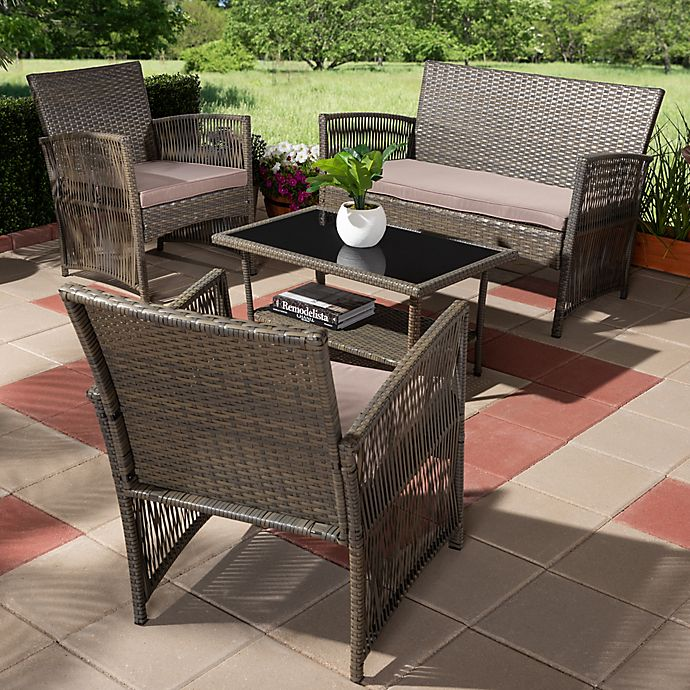 Alternate image 1 for Baxton Studio Arto 4-Piece Patio Set in Brown/Dark Brown