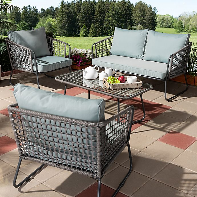 Alternate image 1 for Baxton Studio Divna 4-Piece Patio Set in Grey/Sky Blue