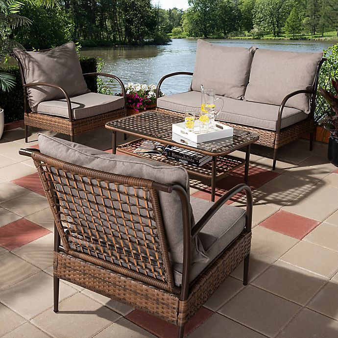 Alternate image 1 for Baxton Studio Aldert 4-Piece Patio Set in Brown/Dark Brown