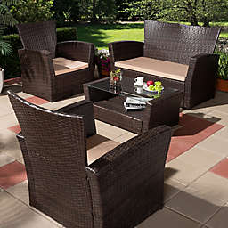 Baxton Studio Paule 4-Piece Outdoor Patio Set in Beige/Brown