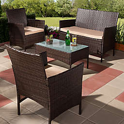 Baxton Studio Anja 4-Piece Outdoor Patio Set in Beige/Brown