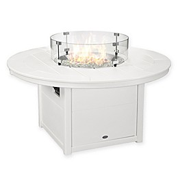 POLYWOOD® Round 48-Inch Propane Fire Pit Table in White
