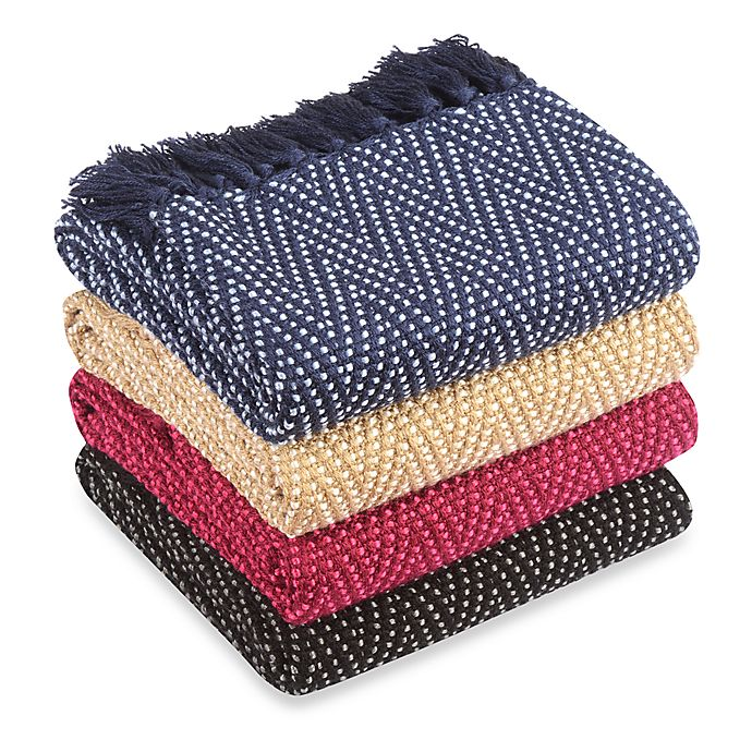 Alternate image 1 for Multi-Colored Chevron Knitted Throws
