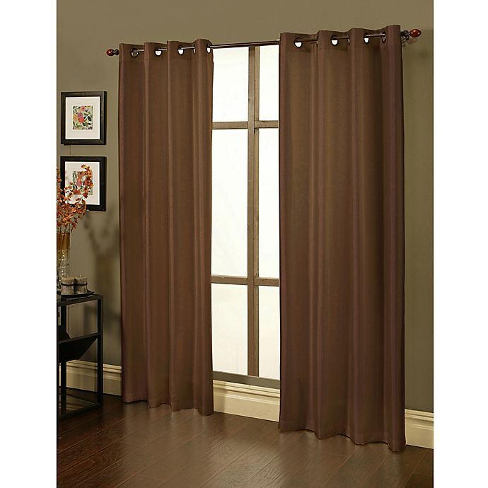 Alternate image 1 for Sherry Kline Faux Silk Grommet Top 84-Inch Window Curtain Panels in Brown (Set of 2)