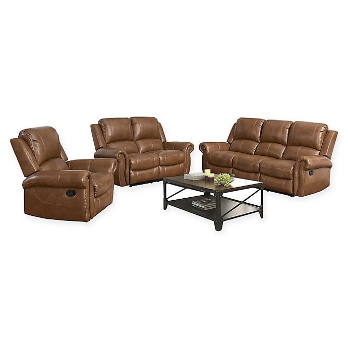 Stupendous Abbyson Living Corrine 3 Piece Reclining Sofa Set In Cognac Ncnpc Chair Design For Home Ncnpcorg