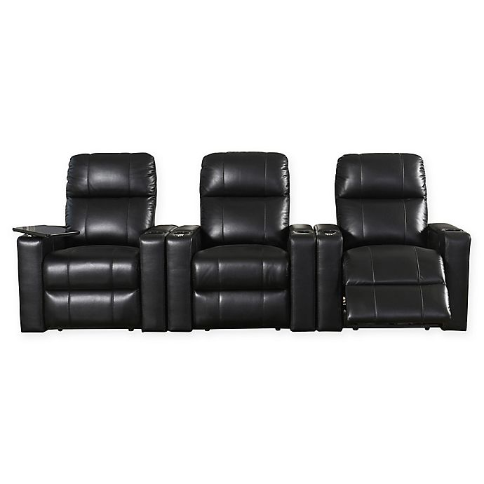 Alternate image 1 for Abbyson Living™ Francis Leather Theatre Recliners in Black (Set of 3)