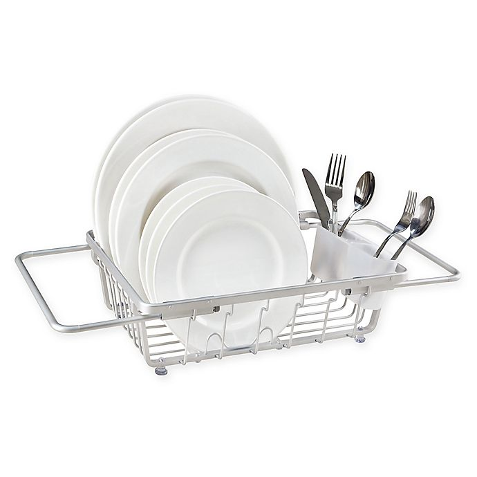 Alternate image 1 for ORG Aluminum Expandable Over-the-Sink Dish Rack