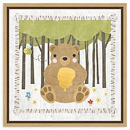 Amanti Art Woodland Hideaway Bear 16-Inch Framed Canvas Wall Art
