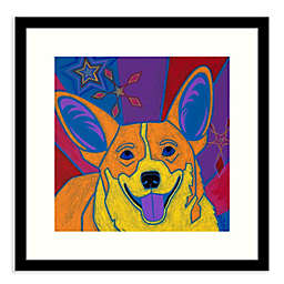Amanti Art® Joyful Corgi 17-Inch Square Framed Wall Art