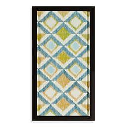 Blue/Green Ikat Honeycomb Shadowbox Wall Art