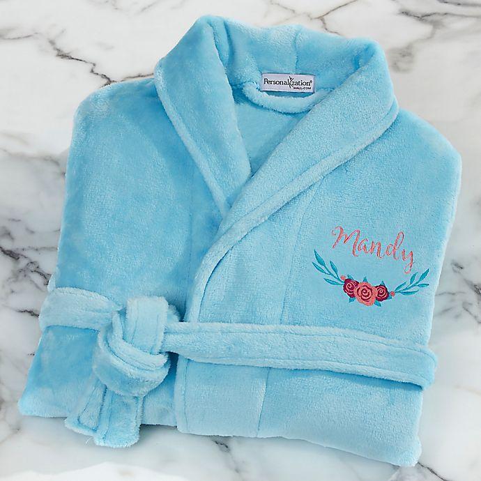Alternate image 1 for Floral Embroidered Short Fleece Robe