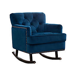 Abbyson Living® Bluestone Velvet Rocker with Nailhead Trim in Sapphire Blue