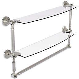 Allied Brass Dottingham Collection 2-Tier Glass Shelf with Towel Bar