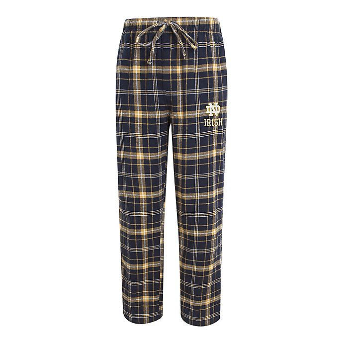 Alternate image 1 for University of Notre Dame Men's Flannel Plaid Pajama Pant with Left Leg Team Logo
