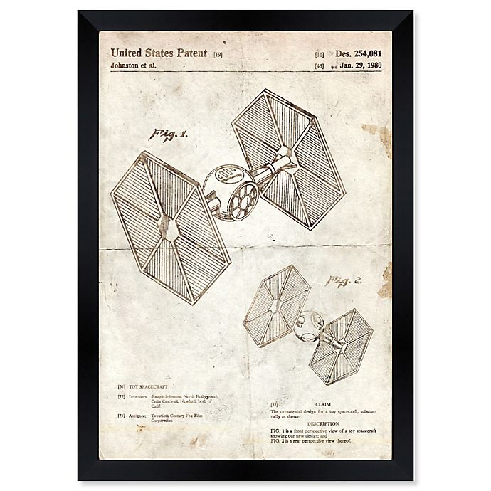 Alternate image 1 for Oliver Gal™ Toy Spacecraft Tie Fighter 1980 Blueprint 26-Inch x 32-Inch Framed Wall Art