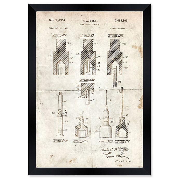 Alternate image 1 for Oliver Gal™ Disposable Syringe II 1951 Blueprint 15-Inch x 18-Inch Framed Wall Art