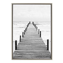 Amy Peterson Wooden Pier to Beach 23-Inch x 33-Inch Framed Canvas in Gray Wash