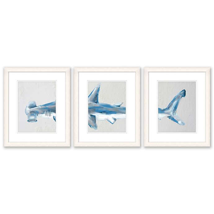 Alternate image 1 for Hammerhead Shark 3-Piece 15-Inch x 18-Inch Paper Framed Print Wall Art