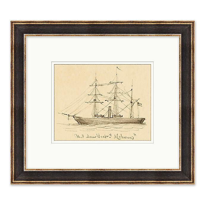 Alternate image 1 for Ship Sketch 17.75-Inch x 15.75-Inch Paper Framed Print Wall Art in Black/White