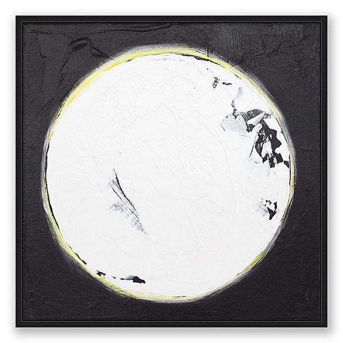 Wolf Moon Abstract Framed Canvas Wall Art In Black White