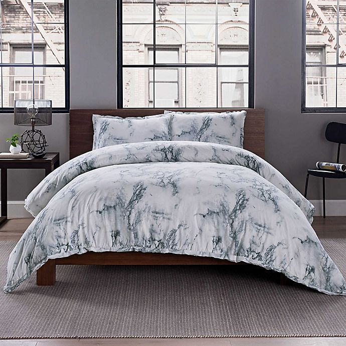 Garment Washed Printed Duvet Cover Set Bed Bath Beyond