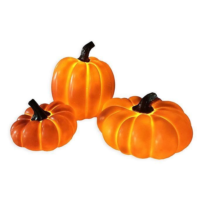 Pre Lit Pumpkin Decorations Set Of 3