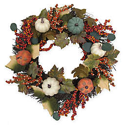 22-Inch Pumpkin and Berries Harvest Wreath
