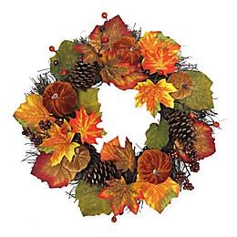 22-Inch Velvet Pumpkin Harvest Wreath in Orange/Green