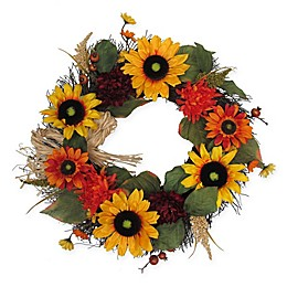22-Inch Sunflower Harvest Wreath in Yellow/Orange