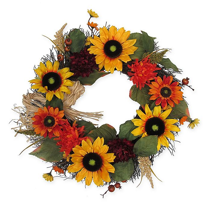Alternate image 1 for 22-Inch Sunflower Harvest Wreath in Yellow/Orange