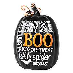 Decorative Halloween LED Lighted Boo Pumpkin in Black