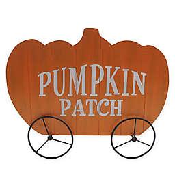 Harvest 34-Inch Wooden Pumpkin Wagon in Orange