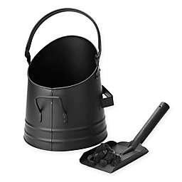 Mind Reader Metal Ash Bucket with Shovel in Black