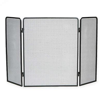 Mind Reader 3-Panel Fireplace Screen in Black