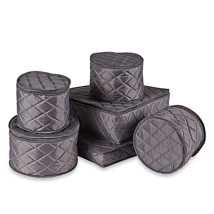 Alternate image 1 for .ORG Quilted 6-Piece Dinnerware and Serveware China Storage Set in Grey
